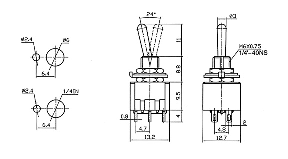 mini toggle switch dpdt momentary