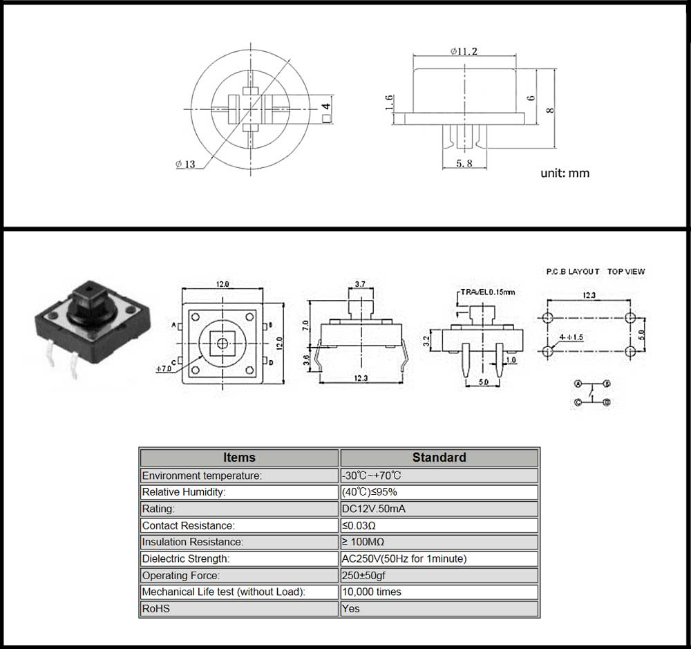 Pushbutton Tact Switch SPST-NO 12mm Green | MPJA.COM