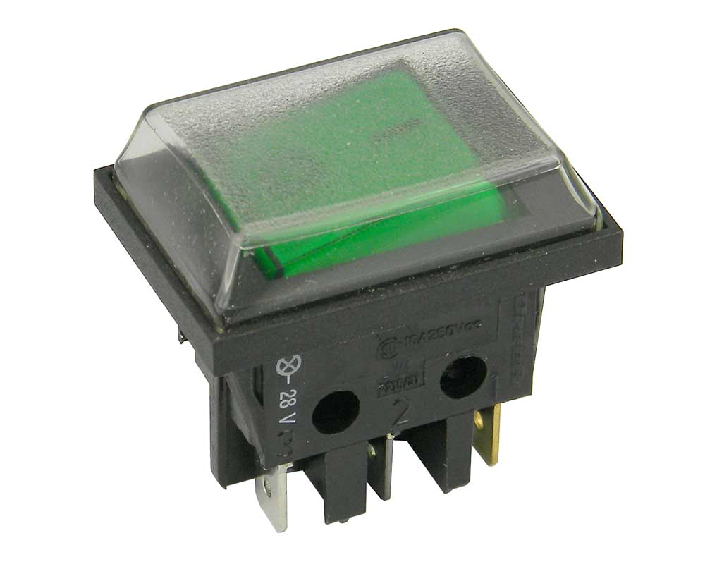 DPST Rocker Switch, Lighted with Dust Cover | MPJA.COM