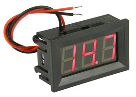 Mini Panel Meter, Snap-in 3 Digit Red, 30VDC