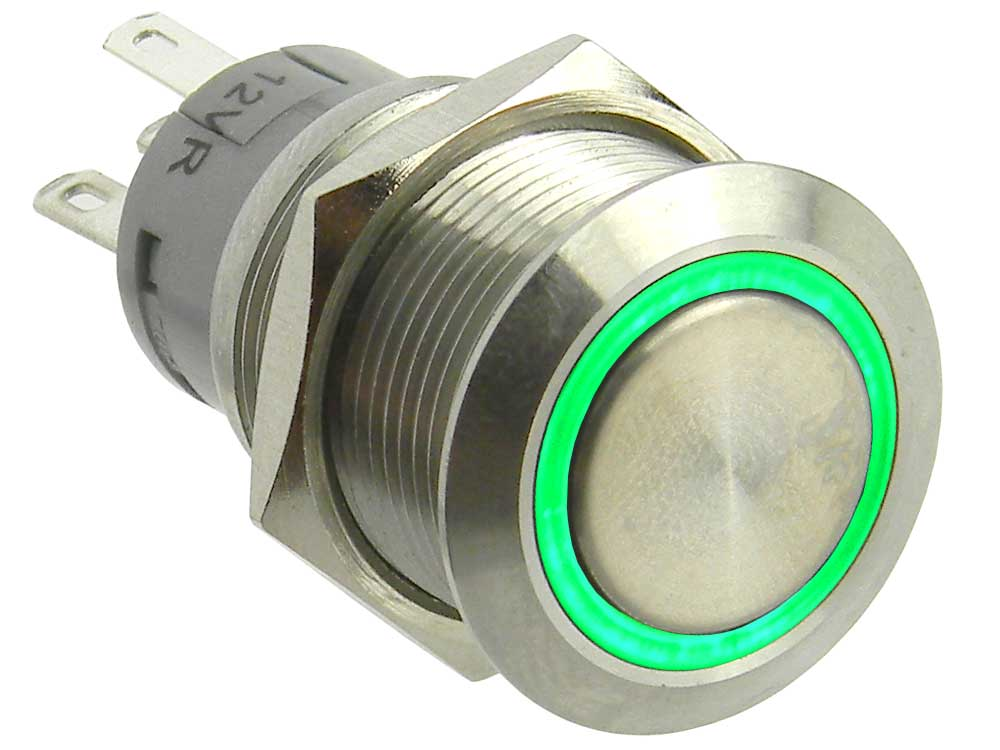 SPDTLghted Push Button Switch, Momentary, 12VDC Green