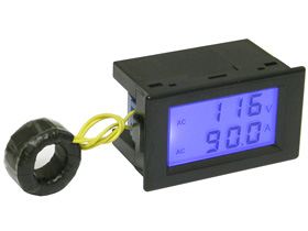 Panel Meter, LCD, Snap-in. AC Volts & Amps.