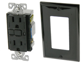 Ground Fault Interrupter Outlet, 15A Black