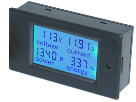 Panel Meter, LCD Snap-in, AC Volts, 20Amps, 4.5KW