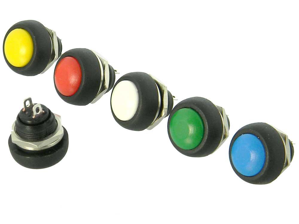 12mm Dome Top Push button Switch Set, SPST-NO 6 Colors   MPJA COM