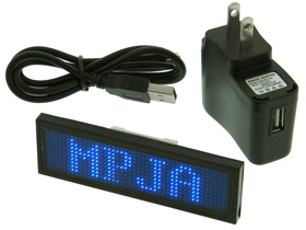 Blue LED Programmable Name Tag