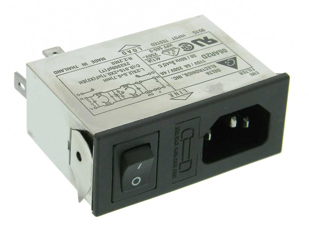 iec power inlet rfi filter switch delta 06ar2d mpja com