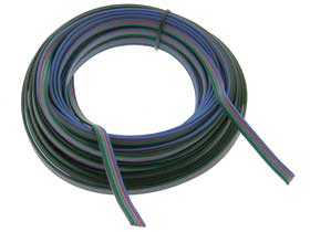 25' Black/Green/Red/Blue 4 Conductor LED Cable