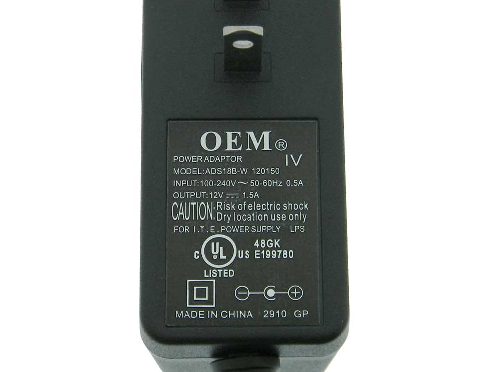 12 Volt 1 5A DC Plug Power Supply  OEM