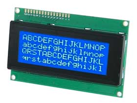 4  X 20  LCD Character Display White on Blue