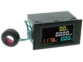 Panel Meter, Color LCD Snap-in, AC Volts,  80-300 VAC,100A, 22KW