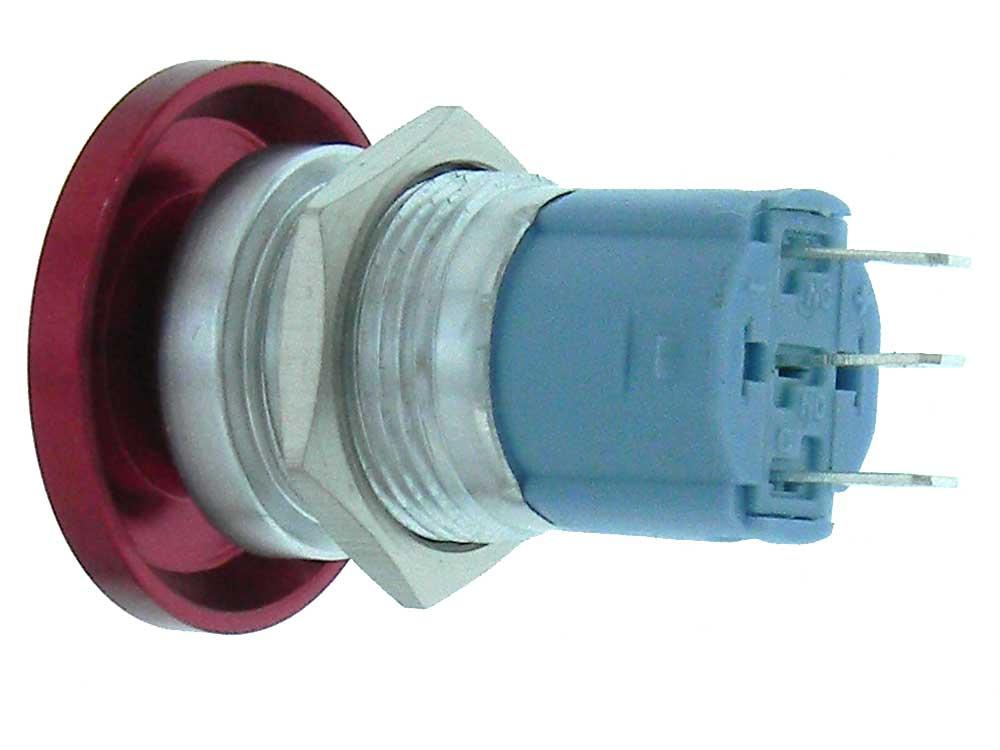 16mm SPDT P/B Switch Red Mushroom Button