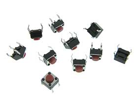 Pack of 10 - Micro Push Button Switch Red