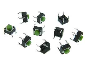 Micro Push Button Switch Green Pack of 10