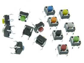 Micro Push Button Switch 2ea. of 7 Colors Pack of 14