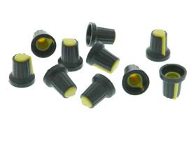 Knob for 6mm Splined Shaft, Yellow  Pack of 10