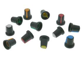 6 Color Knob Set for 6mm Splined Shaft - Pack of 12