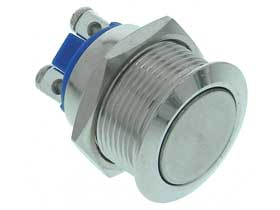 SPST-N.O.Stainless Steel Push Button Switch, Flush