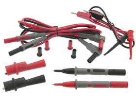 Test Probe Set with Alligator & Mini Clips Red & Black