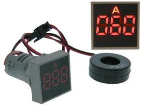 Amp Meter Square AC 0-100A  Red LED