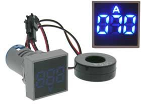 Amp Meter Square AC 0-100A  Blue LED