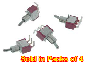 SPDT On-On Mini Toggle Switch PC Mount Pack of 4