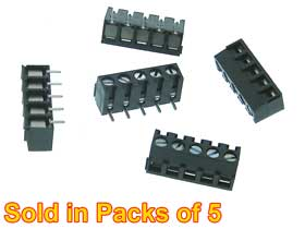 Terminal Strip 5 Position PC Mount Pack of 5pcs.