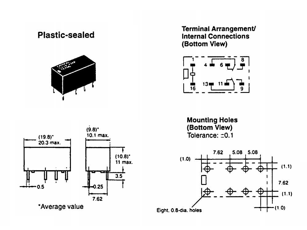 Pack of 4 - 5VDC, DPDT DIP Relay Omron