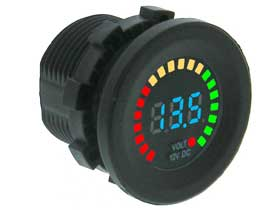 Battery Monitor Voltmeter 12VDC Round with Bargraph