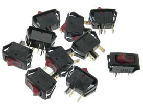 Pack of 10 - Lighted Rocker Switch. 16A 125VAC