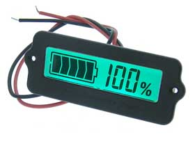 12V Battery Charge Indicator, Green LCD