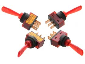 Pack of 4 - Red SPST Lighted 12V Toggle Switch Long Handle