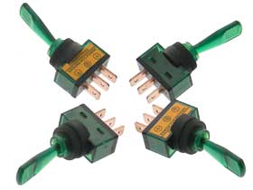 Pack of 4 - Green SPST Lighted 12V Toggle Switch Long Handle