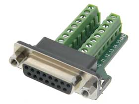 DB-15 Female to Terminal Strip Adapter