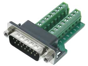 DB-15 Male to Terminal Strip Adapter