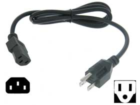 Power Cord 3ft. UL Listed NEMA 5 to IEC C13