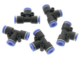 Pack of 5 - 6mm O.D. Air Hose Fitting Tee PUT 6mm